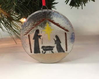 Nativity Ornament, Manger Scene, Fused Glass Ornament, Christmas Tree, Glass Ornament