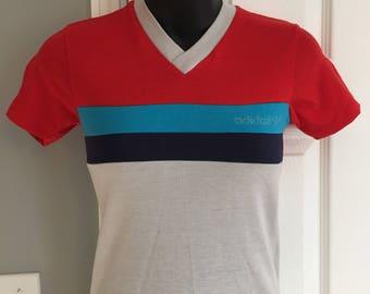 Vintage 1980s retro Adidas Originals colorblock V-Neck small XS