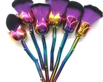 6 Piece Metallic Rose Brush Set