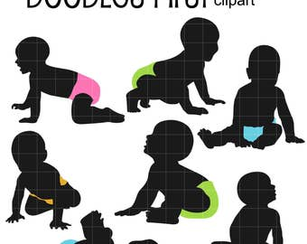 Baby Silhouettes DIgital Clip Art for Scrapbooking Card Making Cupcake Toppers Paper Crafts