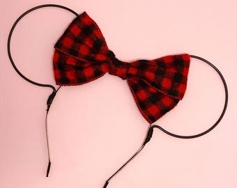 Red Flannel Buffalo Plaid Bow and Black Wire Mouse Ears