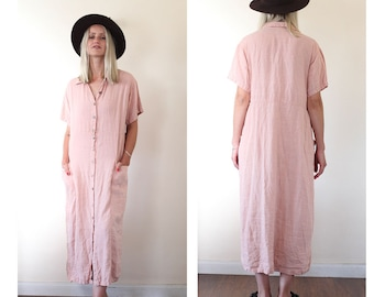 Vintage 90s Pink 100% Summer Linen Midi Shirt Dress