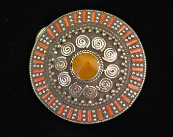 Circle Belt Buckle - Inlaid Coral & Amber Stones in Tibetan Silver 7973