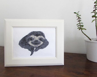 Sloth Embroidery - Modern cross stitch pattern PDF - Instant download