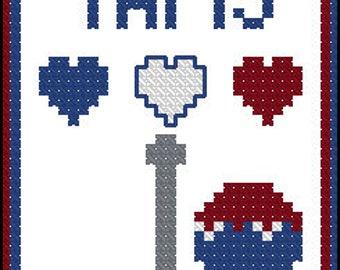 Paris bookmark cross stitch pattern