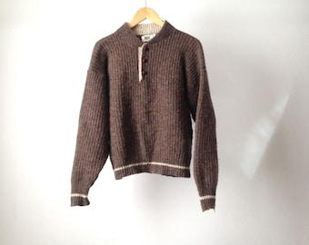 90s OXFORD wool CREW neck sweater REI brand vintage wool henley sweater