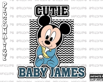 Baby Mickey Cutie Personalized Disney Custom Printable Iron On Transfer or Use as Clip Art - DIY Disney Shirts - Baby Mickey - Download