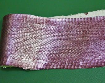 Corky-handmade with natural grain metallic snake skin Silver / Pink Parade