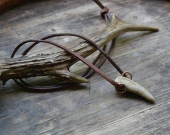 Antler tip pendant, antler tip necklace, men's antler tip necklace, antler tip on leather cord, small antler tip on suede cord, antler tip
