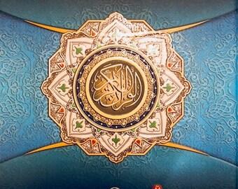 EDLE blaue Koran Wort für Wort Arabisch-englische Übersetzung Farbe Tajweed A4 große Druck Geschenk Eid hart zurück Luxus schöne