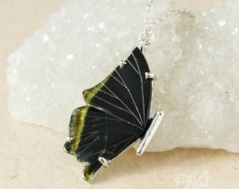 Green Tourmaline Butterfly Necklace - Single Wing