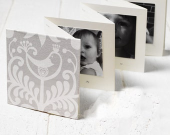 Once-A-Year Book - White Bird - Hand bound baby photo album, memory book + first words notebook all-in-one