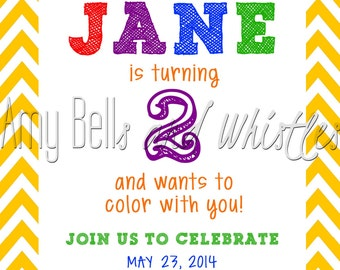 Colorful Crayola Crayon Birthday Invitation Custom Personalized - Digital File