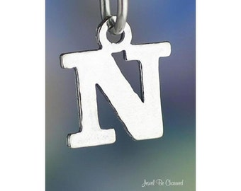 Sterling Silver Small Letter N Charm Initial Capital Letters Solid 925