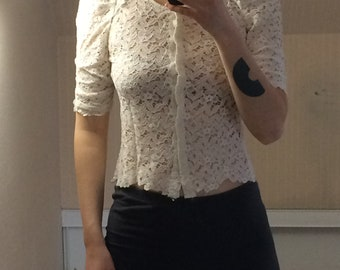 The Kooples creamy white lace blouse