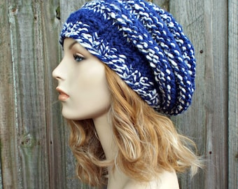 Chunky Knit Hat Womens Hat Slouchy Beanie - Original Beehive Beret Hat Blue and Cream Knit Hat - Blue Beret Blue Hat - READY TO SHIP