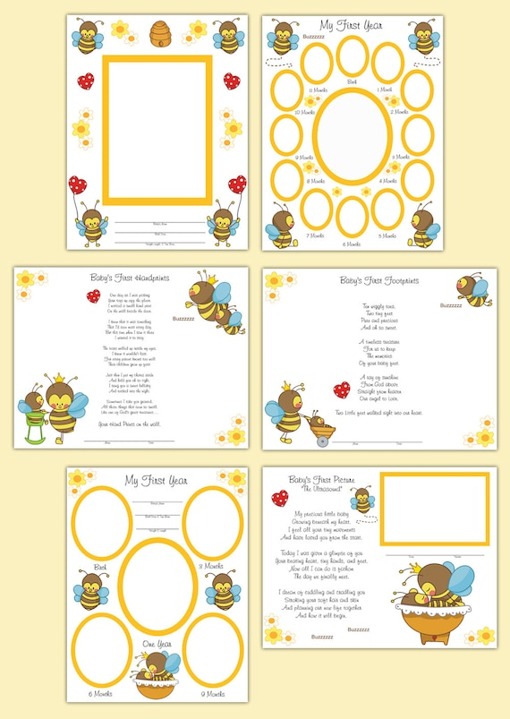 PREMADE SCRAPBOOK PAGES Bumble Bee Baby Girl Memory Book First Year ...