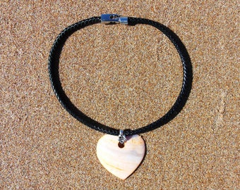 SALE Tangerine Shell Heart and Black Braided Genuine Leather Pendant Necklace