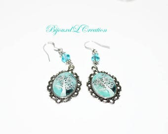Tree turquoise oval cabochon earrings