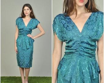 1980s does 1940s Teal peplum dress | vintage 1980s dress | teal 80s does 40s dress