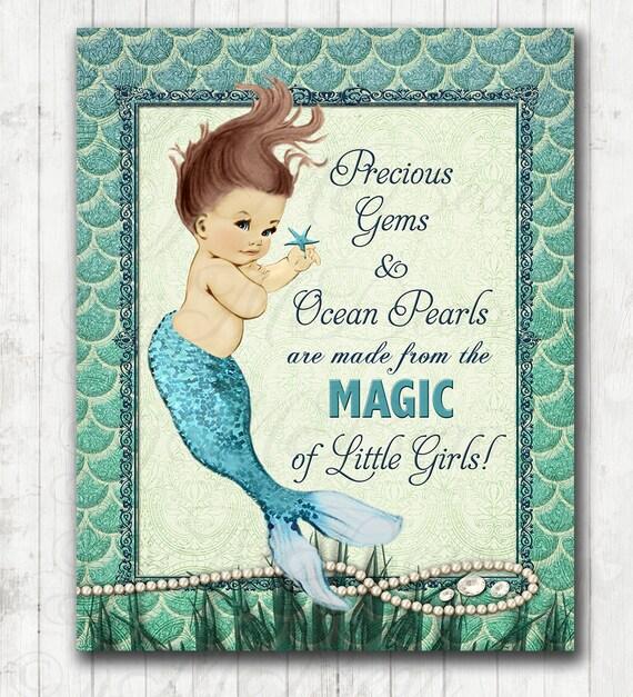 Themes For Baby Room Antique Mirrors: Mermaid Nursery Art Vintage Mermaid Decor