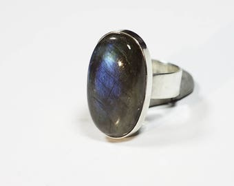 Labradorite Ring Silver Size 7.6 (7-) Unique 267
