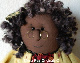 "African American Doll - Sophie ~ 22"" Tall Poseable Doll ~ Brown, Green, Yellow ~ Bell Flower Included"