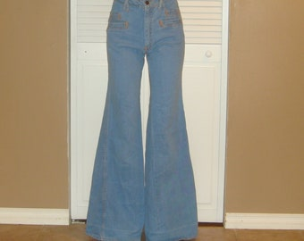 Vintage 70s Faded Glory Skinny High Waisted Hippie Bell Bottom Jeans~6~