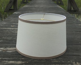Off-White Linen Modified Drum Lamp Shade Lampshade with Taupe Linen Trim
