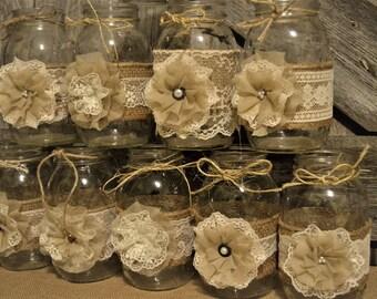 Mason Jar Burlap  Rustic Wedding Burlap Mason Jar Sleeves Mason Jar Centerpieces Handmade Decorations Rustic Wedding Decor Sleeves