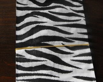 TAX SEASON Stock up 100 Pack 5 X 7 Inch Black and White Zebra or Tiger Striped Flat Paper Merchandise Bags