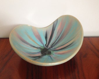 Vintage Ceramic Glazed Curved Dish Trinket Tray
