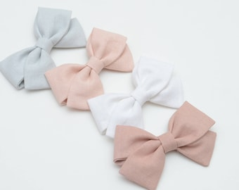 Modern Bow Classic Bow Pink Bow Linen Bow Cotton Bow Headband or Alligator Clip Bow