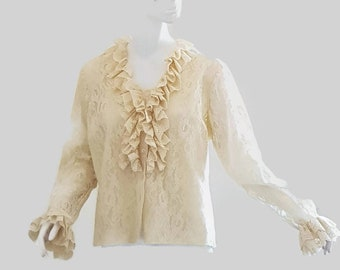 50s vintage cream ruffle neck SLEEVE lace blouse