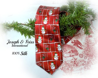 Christmas party tie -Red Christmas tie - snowman tie  -Christmas neck wear - Holiday tie -   # 34