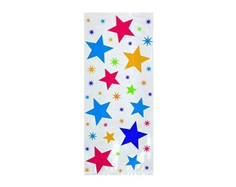 Multi Stars Cellophane Treat Bags - 20 bags - Party Favors - Gift Bags