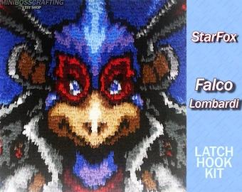 StarFox - Falco Lombardi - Latch Hook Kit - DIY Latch Hook Rug 16*16.5