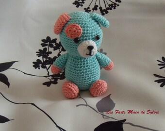 Aqua crochet dog