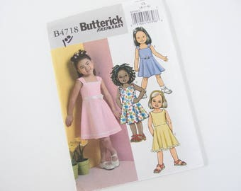 UNCUT Butterick 4718 Sewing Pattern, Girls' Sundress Sizes 6, 7, 8