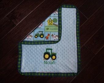 Tractor Blanket, Mini Tractor Blanket, Car Seat Tractor Blanket, Personalized Tractor Blanket, Embroidered Tractor Blanket