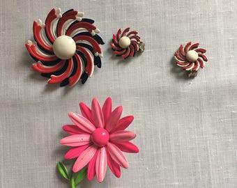 Enamel pins and earrings vintage