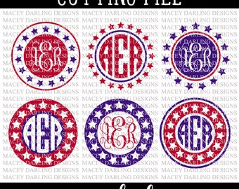 Fourth of July Monogram Svg, Fourth of July Monograms, Monogram Frame Svg, 4th of July Monogram Svg, 4th of July Monogram Frame, Cut File