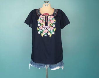 Mexican Embroidered Boho Peasant Top, Embroidered Top, Mexican Blouse, Mexican Boho Blouse, Boho Blouse, Size Small, TaraLynEvansStudio