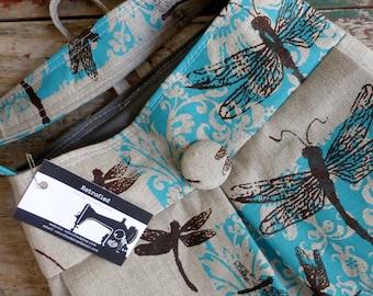 Dragonfly Bag Large Hobo Bag - - 3 Pockets Key Fob - Hand printed linen
