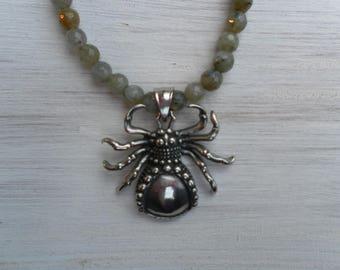 Gothic spider stone necklace
