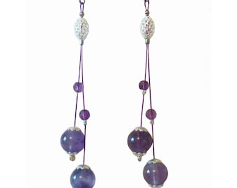Boucles d'oreille Argent 925 et Améthyste Grade A, Boucles d'oreille Améthyste, Boucles d'oreille pendantes argent