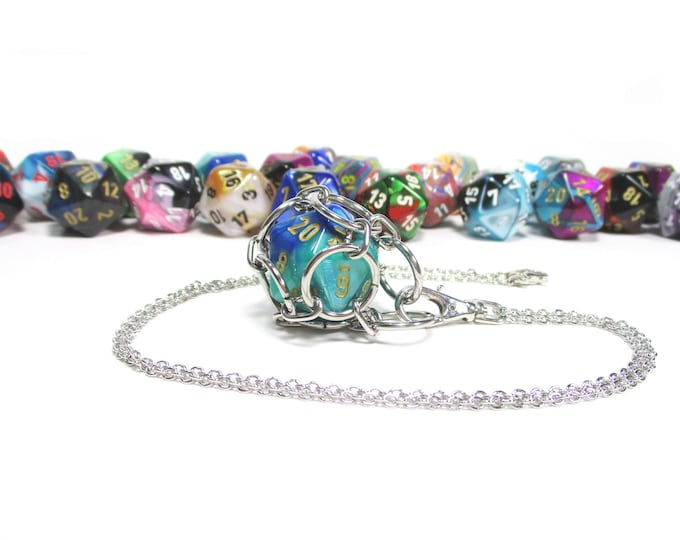 Removable Multi-Colored d20 Necklace - Choice of Colors - Stainless Steel Chainmaille
