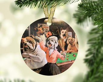Scratched at Dawn Dogs Playing Pool Christmas Ornament - Great for the Tree in Your Man Cave or Game Room