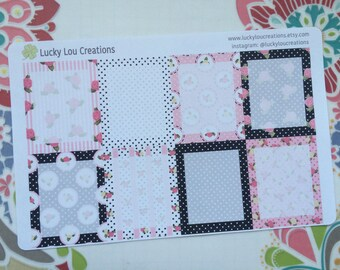 Set of 8 Full Daily Box Patterned Stickers designed for Erin Condren Vertical Life Planner - Black & Pink