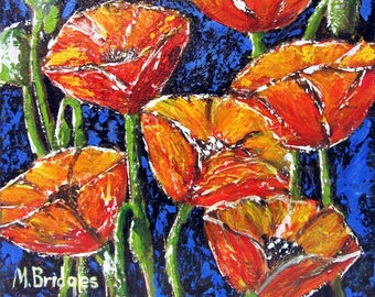 Red Poppy Painting - Original Acrylic on Wrapped Canvas By Mary Bridges